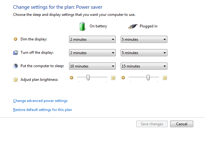 increasing battery life - Power options